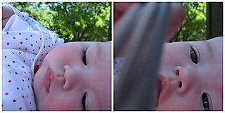 Ella grabbing the camera cord